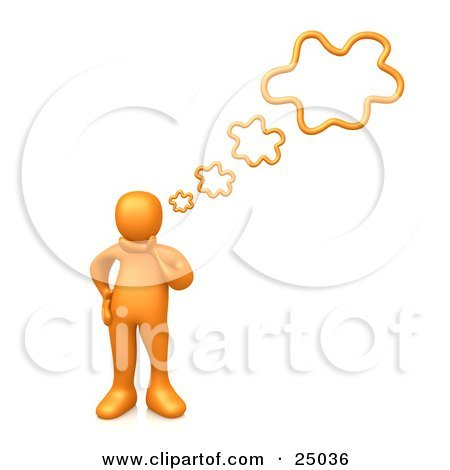 25036-Clipart-Illustration-Of-An-Orange-Person-Rubbing-His-Chin-While-Thinking-Creative-Thoughts-With-Four-Bubbles.jpg